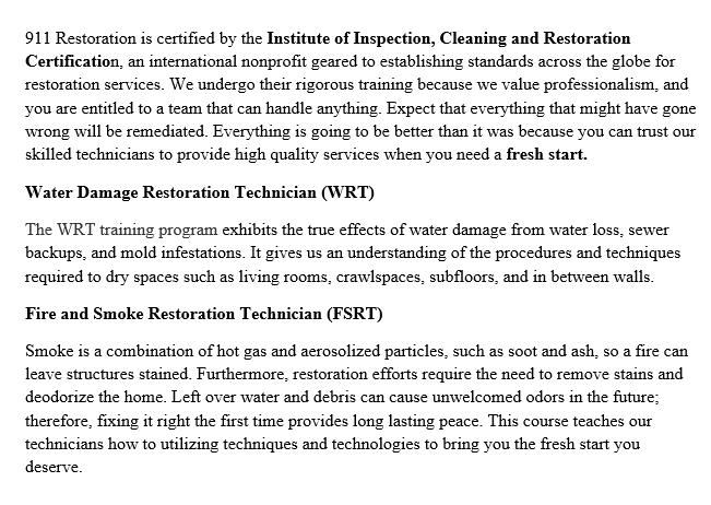 Certificates | 911 Restoration