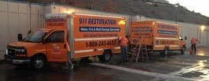 Water Damage Restoration Vans And Trucks Ready At Headquarters